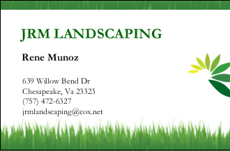 JRM Landscaping business card